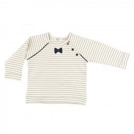 Stripes and bow tie sweater in cotton jersey